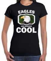 Dieren arend zwart dames eagles are cool t-shirt