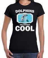 Dieren dolfijn zwart dames dolphins are cool t-shirt