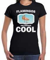 Dieren flamingo zwart dames flamingos are cool t-shirt
