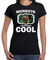 Dieren orangoetan zwart dames monkeys are cool t-shirt