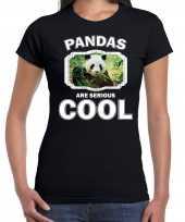 Dieren panda zwart dames pandas are cool t-shirt