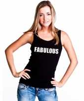 Fabulous tekst single tanktop zwart dames t-shirt
