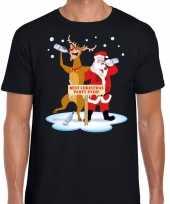 Foute kerst dronken kerstman rudolf zwart heren t-shirt
