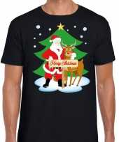 Foute kerst kerstman rendier rudolf zwart heren t-shirt