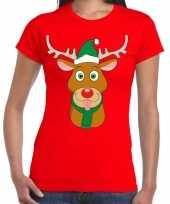 Foute kerst rendier rudolf groene kerstmuts rood dames t-shirt