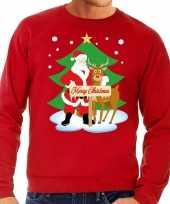 Foute kersttrui kerstman rendier rudolf rood heren t shirt