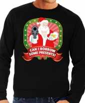 Foute kersttrui zwart can i borrow some presents heren t-shirt