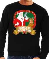 Foute kersttrui zwart santa is no vegan heren t-shirt