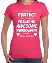 Freaking awesome husband echtgenoot cadeau roze dames t-shirt