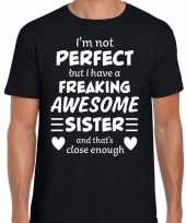 Freaking awesome sister zus cadeau zwart heren t-shirt