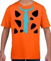 Fred holbewoner kostuum oranje kinderen t-shirt