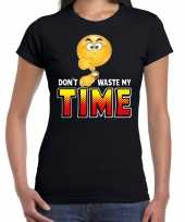 Funny emoticon dont waste my time zwart dames t-shirt