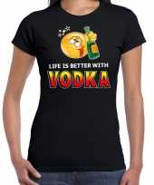 Funny emoticon life is better with vodka zwart dames t-shirt