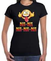 Funny emoticon ne ne ne ne ne zwart dames t-shirt