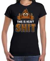 Funny emoticon this is heavy shit zwart dames t-shirt