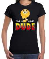 Funny emoticon time is money dude zwart dames t-shirt