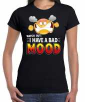 Funny emoticon watch out i have a bad mood zwart da t-shirt