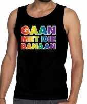 Gaan die banaan gaypride tanktop zwart heren t shirt