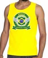 Geel brazil drinking team tanktop mouwloos heren t-shirt