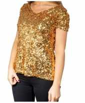 Gouden glitter pailletten disco dames t shirt