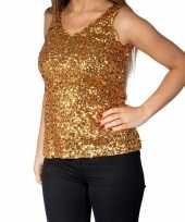 Gouden glitter pailletten disco topje mouwloos dames t-shirt