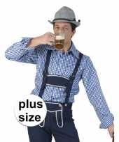 Grote maat blauw wit geruit tiroler verkleed overhemd heren t-shirt