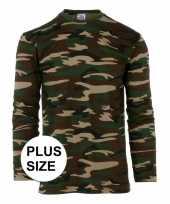 Grote maat camouflage heren lange mouw t-shirt