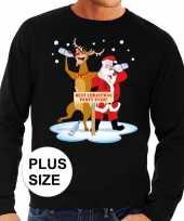 Grote maten foute kersttrui dronken kerstman rendier zwart t-shirt