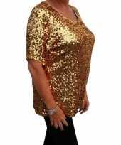 Grote maten gouden glitter pailletten disco dames xl t-shirt