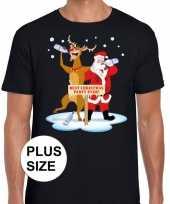 Grote maten kerst dronken kerstman rudolf zwart t-shirt