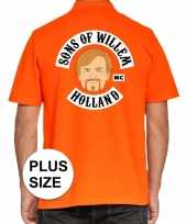 Grote maten koningsdag polo sons of willem oranje heren t-shirt