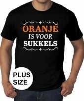 Grote maten oranje is sukkels zwart heren t-shirt