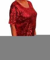 Grote maten rode glitter pailletten disco dames xl t-shirt