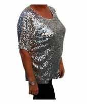 Grote maten zilveren glitter pailletten disco dames xl t-shirt