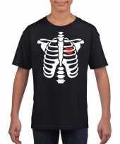 Halloween skelet zwart kinderen t-shirt
