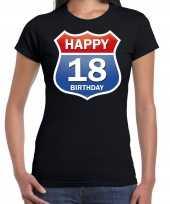 Happy birthday jaar verjaardag route bordje zwart dames t-shirt