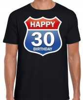 Happy birthday jaar verjaardag route bordje zwart heren t-shirt 10218364