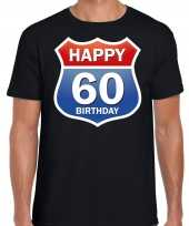 Happy birthday jaar verjaardag route bordje zwart heren t-shirt 10218366
