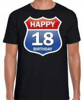 Happy birthday jaar verjaardag route bordje zwart heren t-shirt