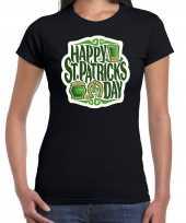 Happy st patricks day st patricks day kostuum zwart dames t-shirt