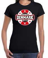 Have fear denmark is here denemarken supporter zwart dames t shirt