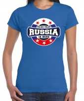 Have fear russia is here rusland supporter blauw dames t shirt