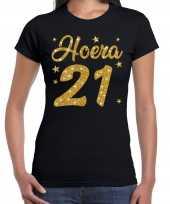 Hoera jaar verjaardag cadeau goud glitter zwart dames t-shirt 10251582