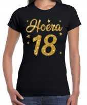 Hoera jaar verjaardag cadeau goud glitter zwart dames t-shirt 10251586