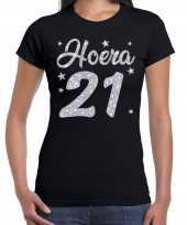 Hoera jaar verjaardag cadeau zilver glitter zwart dames t-shirt 10251590