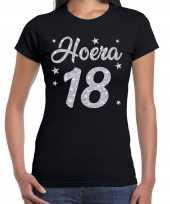 Hoera jaar verjaardag cadeau zilver glitter zwart dames t-shirt 10251607