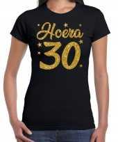 Hoera jaar verjaardag jubileum cadeau goud glitter zwart dames t-shirt 10251464