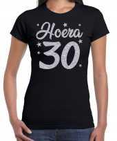 Hoera jaar verjaardag jubileum cadeau zilver glitter zwart dames t-shirt 10251587