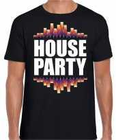 House party fun tekst zwart heren t-shirt