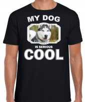 Husky honden my dog is serious cool zwart heren t shirt